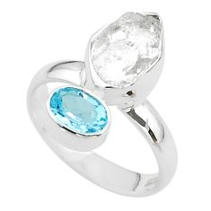 9.16cts natural white herkimer diamond topaz 925 silver ring size 7 t49675