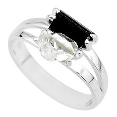 6.58cts natural white herkimer diamond tourmaline raw silver ring size 9 t6756