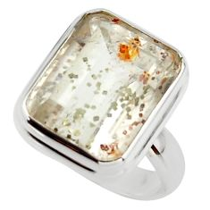 8.07cts natural white marcasite in quartz 925 silver ring size 6.5 r42479