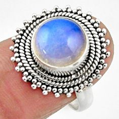5.63cts natural white opalite 925 silver solitaire ring jewelry size 7.5 r52681