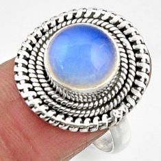 5.35cts natural white opalite 925 silver solitaire ring jewelry size 8.5 r52685