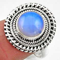 5.38cts natural white opalite 925 silver solitaire ring jewelry size 8.5 r52686