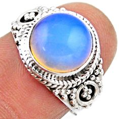4.82cts natural white opalite 925 silver solitaire ring jewelry size 6.5 r53460