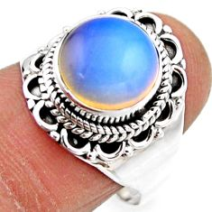 5.11cts natural white opalite 925 silver solitaire ring jewelry size 8 r53454
