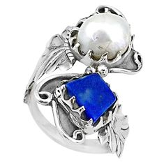 9.13cts natural white pearl 925 silver adjustable handmade ring size 8 t16062