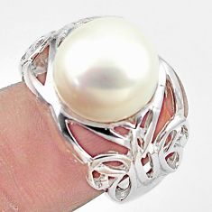 7.58cts natural white pearl 925 silver butterfly solitaire ring size 6 c23886