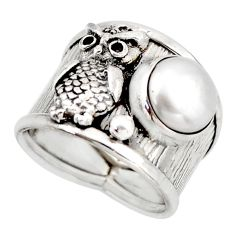 5.35cts natural white pearl 925 silver owl solitaire ring jewelry size 7 d45935