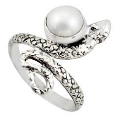 3.35cts natural white pearl 925 silver snake solitaire ring size 8.5 d46278
