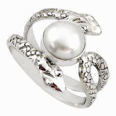 3.53cts natural white pearl 925 silver snake solitaire ring size 8.5 d46279