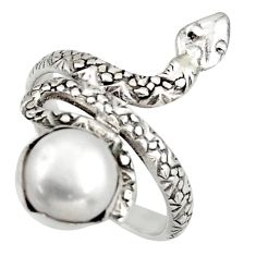 3.36cts natural white pearl 925 silver snake solitaire ring size 7 d46275