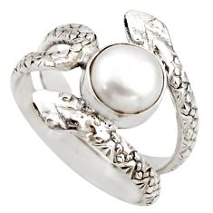 3.39cts natural white pearl 925 silver snake solitaire ring size 7 d46296