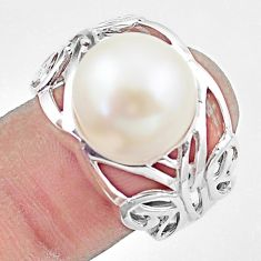 7.22cts natural white pearl 925 silver solitaire butterfly ring size 7 c23884