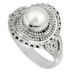 1.55cts natural white pearl 925 silver solitaire ring jewelry size 7 r19664