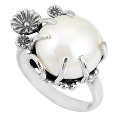 11.44cts natural white pearl 925 silver solitaire ring jewelry size 7 r67371