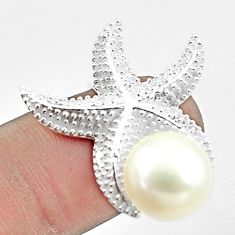 6.73cts natural white pearl 925 silver solitaire star fish ring size 9 c23896