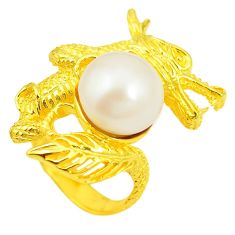 Natural white pearl 925 sterling silver 14k gold dragon ring size 7.5 c23978