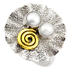 1.84cts natural white pearl 925 sterling silver 14k gold ring size 6.5 d46208