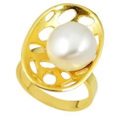 Natural white pearl 925 sterling silver 14k gold ring jewelry size 8 c23973