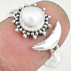 1.21cts natural white pearl 925 sterling silver adjustable ring size 8.5 r74631