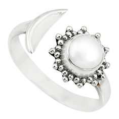 1.21cts natural white pearl 925 sterling silver adjustable ring size 7.5 r74790