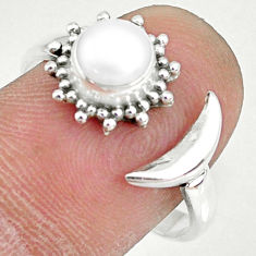 1.21cts natural white pearl 925 sterling silver adjustable ring size 8 r74628
