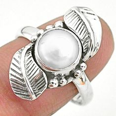 3.01cts natural white pearl 925 sterling silver leaf ring size 8 t6410