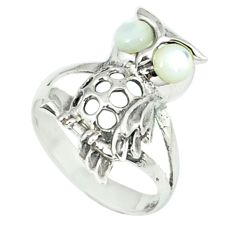 1.34cts natural white pearl 925 sterling silver owl ring jewelry size 6.5 c12244