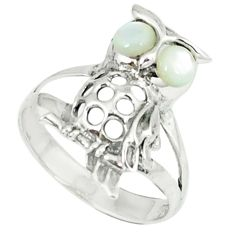 1.45cts natural white pearl 925 sterling silver owl ring jewelry size 6.5 c12254