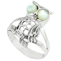 1.45cts natural white pearl 925 sterling silver owl ring jewelry size 6.5 c12258
