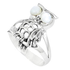 1.24cts natural white pearl 925 sterling silver penguin ring size 6.5 c12700