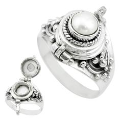 1.25cts natural white pearl 925 sterling silver poison box ring size 8.5 t52794