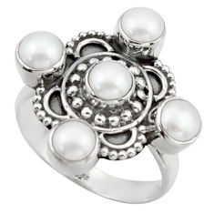 4.71cts natural white pearl 925 sterling silver ring jewelry size 8.5 d46548