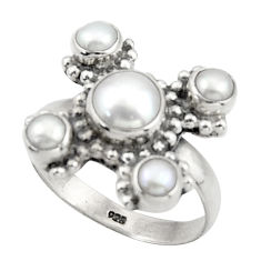 5.75cts natural white pearl 925 sterling silver ring jewelry size 8.5 d46581
