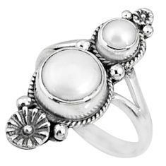 4.38cts natural white pearl 925 sterling silver ring jewelry size 7.5 r67315