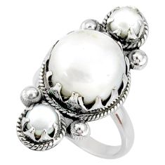 13.38cts natural white pearl 925 sterling silver ring jewelry size 7.5 r67355