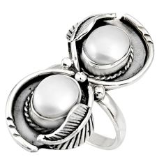6.15cts natural white pearl 925 sterling silver ring jewelry size 7 d39088