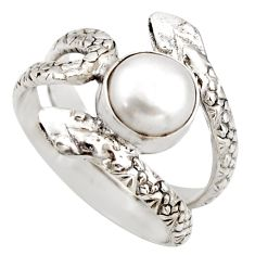 3.41cts natural white pearl 925 sterling silver snake ring size 8.5 d46258