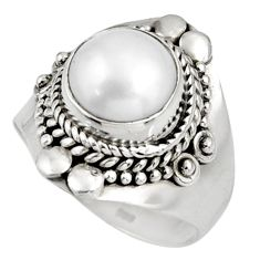 5.12cts natural white pearl 925 sterling silver solitaire ring size 7.5 d39078
