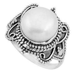 5.78cts natural white pearl 925 sterling silver solitaire ring size 7.5 r26785