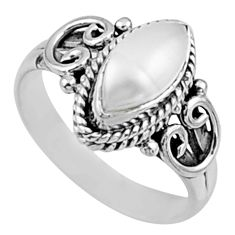 2.33cts natural white pearl 925 sterling silver solitaire ring size 6.5 r54454