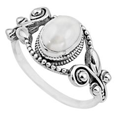 1.94cts natural white pearl 925 sterling silver solitaire ring size 7.5 r54530