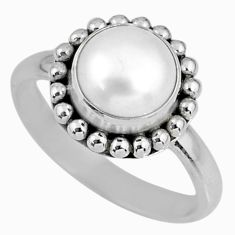 3.19cts natural white pearl 925 sterling silver solitaire ring size 8.5 r57913