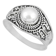 1.22cts natural white pearl 925 sterling silver solitaire ring size 8.5 r58075