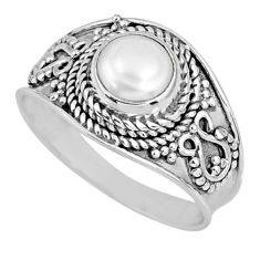 1.21cts natural white pearl 925 sterling silver solitaire ring size 7.5 r58079