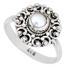 0.84cts natural white pearl 925 sterling silver solitaire ring size 7.5 r58212