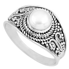 1.41cts natural white pearl 925 sterling silver solitaire ring size 7.5 r58600