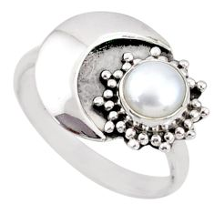 1.26cts natural white pearl 925 sterling silver solitaire ring size 8.5 r67393