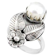 3.15cts natural white pearl 925 sterling silver solitaire ring size 5.5 r67497