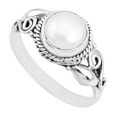 2.78cts natural white pearl 925 sterling silver solitaire ring size 7.5 r74791