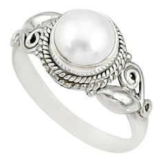 2.39cts natural white pearl 925 sterling silver solitaire ring size 7.5 r76730
